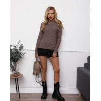 Темно-бежевый шерстяной свитер фактурной вязки