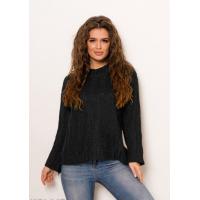 Черный однотонный шерстяной свободный свитер фактурной вязки