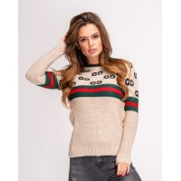 Шерстяной бежевый свитер с лого и полосатыми вставками
