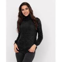Черный теплый свитер-травка с высоким горлом