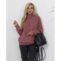 Сиреневый меланжевый вязаный свитер с высоким горлом