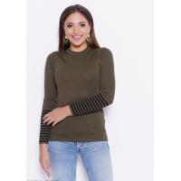 Трикотажный свитер цвета хаки с полосками на рукавах