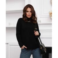Черный шерстяной свитер с фактурными вставками