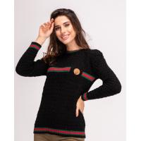 Черный шерстяной вязаный свитер с полосками и брошью