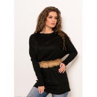 Черный свободный удлиненный ангоровый свитер со съемным меховым поясом