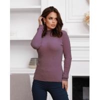 Темно-сиреневый фактурный свитер-травка с высоким горлом