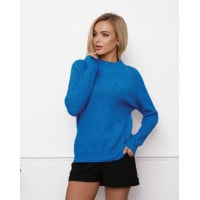 Шерстяной свитер фактурной вязки цвета электрик
