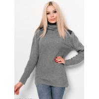 Серый вязаный свитер с кожаными вставками на плечах и воротником-хомутом