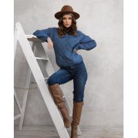 Синий шерстяной свитер комбинированной вязки
