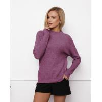 Сиреневый шерстяной свитер фактурной вязки