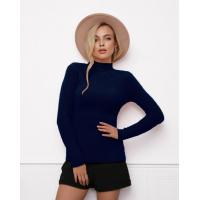 Темно-синий фактурный свитер-травка с высоким горлом