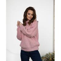 Розовый меланжевый вязаный свитер с высоким горлом
