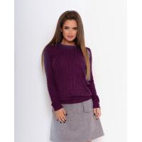 Фиолетовый вязаный свитер с манжетами