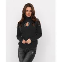 Черный шерстяной свитер с декоративным вырезом