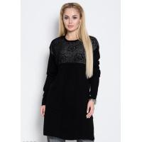 Черное шерстяное платье-свитер с перфорацией, бусинами и плиссировкой