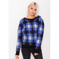 Шерстяной вязаный свитер с клетчатым принтом