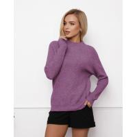 Темно-сиреневый шерстяной свитер фактурной вязки
