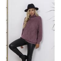 Темно-сиреневый меланжевый вязаный свитер с высоким горлом