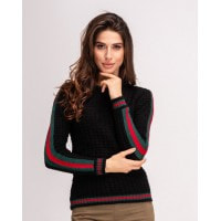Черный шерстяной свитер с полосками на рукавах и манжетке