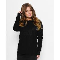 Черный ангоровый свитер с фактурным узором