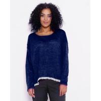 Темно-синий тонкий удлиненный свитер с кружевом