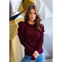Бордовый трикотажный свитер с присборенными рукавами