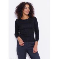Черный трикотажный укороченный фактурный свитер