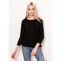 Черный вязаный свитер с рукавами-реглан