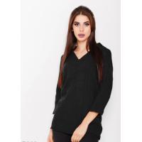 Черный однотонный шерстяной свитер с V-образным вырезом