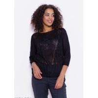 Черный ажурный свитер с перфорацией и макраме
