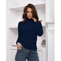 Темно-синий теплый свитер-травка с высоким горлом