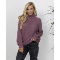 Темно-сиреневый теплый свитер объемной вязки