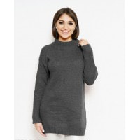Темно-серый удлиненный свитер с горловиной