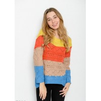 Яркий шерстяной полосатый свитер с удлиненной спинкой и перфорацией