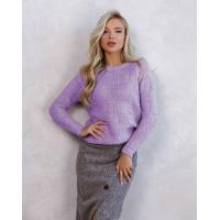 Сиреневый шерстяной клетчатый свитер с люрексом