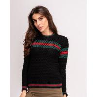 Черный шерстяной свитер объемной вязки с цветным декором