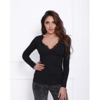 Черный фактурный свитер с кружевом