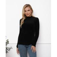 Черный фактурный свитер-травка с высоким горлом