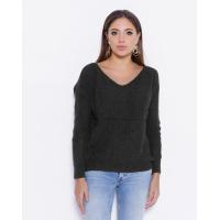 Черный вязаный свитер с открытой спиной