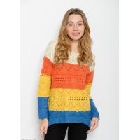 Яркий свитер из шерсти с перфорацией и удлиненной спинкой