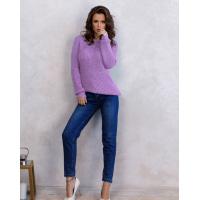 Сиреневый вязаный свитер из шерсти с люрексом