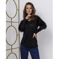 Черный нарядный свитер с люрексом и вставками