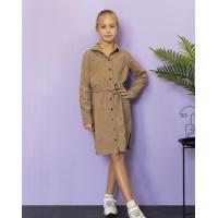 Бежевое вельветовое платье-рубашка с поясом