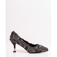 Черные текстильные туфли с бахромой