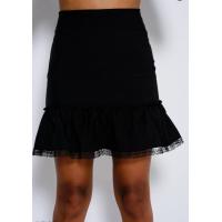 Черная короткая юбка с воланом и кружевом