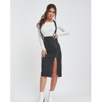 Черная юбка-карандаш из эко-кожи