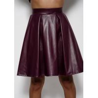 Фиолетовая юбка-полусолнце со сборками из эко-кожи