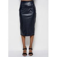 Темно-синяя юбка-карандаш длины миди из эко-кожи