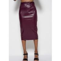 Фиолетовая юбка-карандаш длины миди из эко-кожи