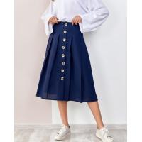 Синяя льняная юбка на пуговицах